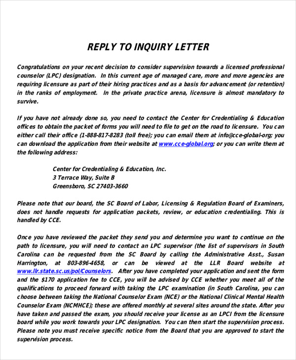 Reply To Inquiry Letter