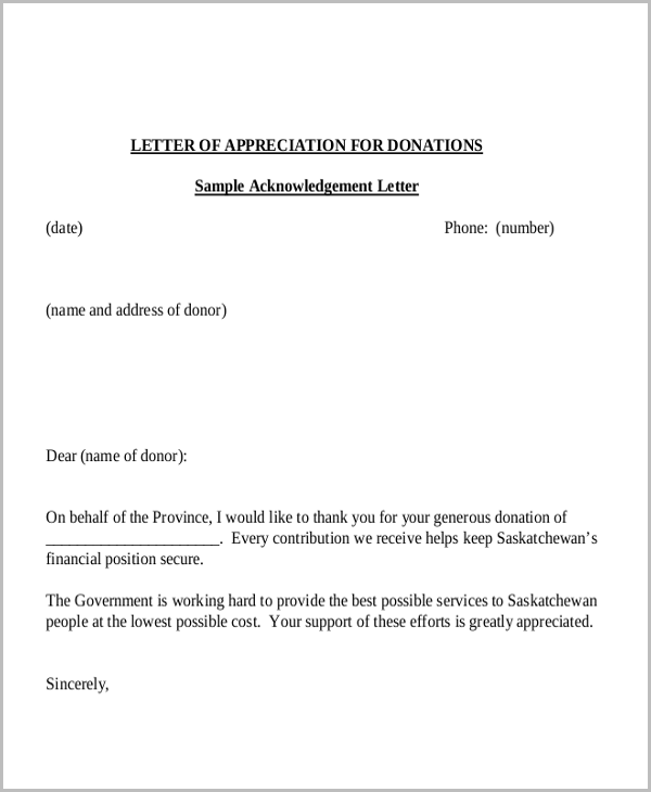 letter of appreciation for donations
