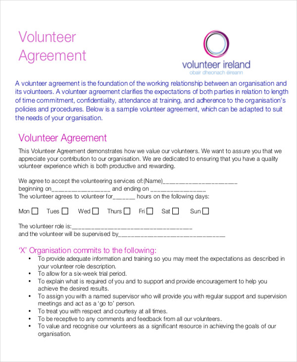 volunteer agreement letter1