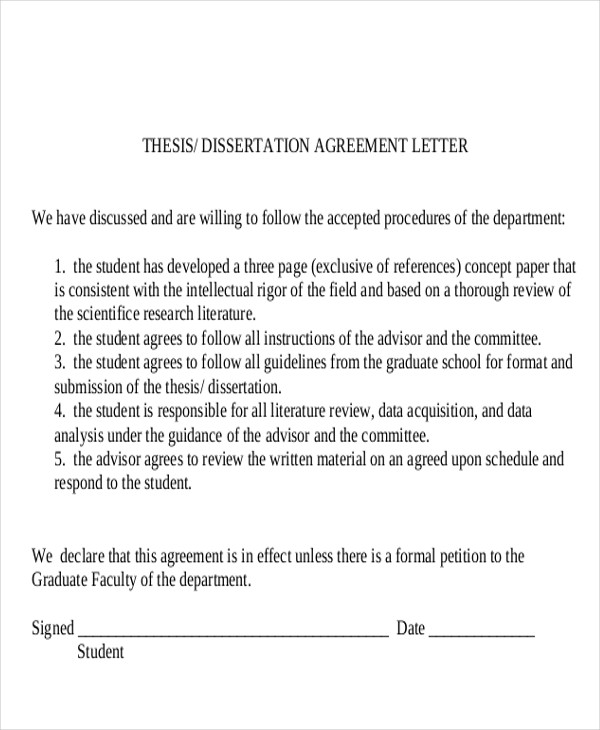 dissertation agreement letter