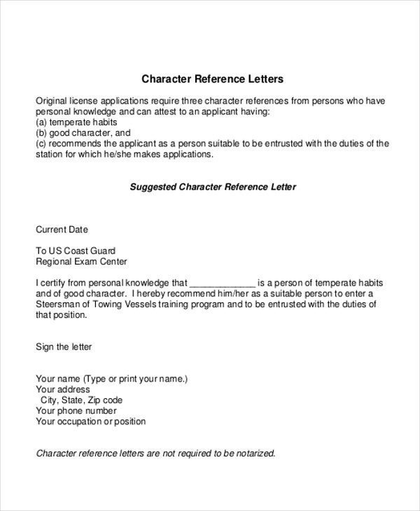 format for character reference letter