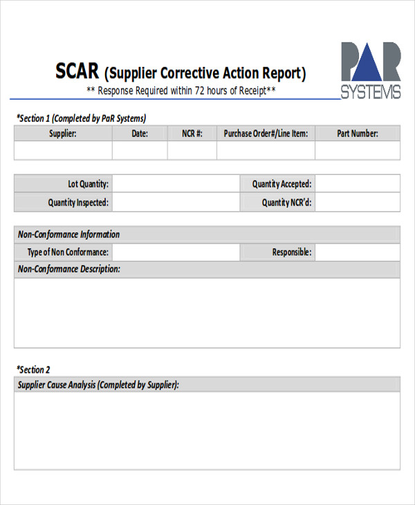 Supplier Corrective Action Report Example