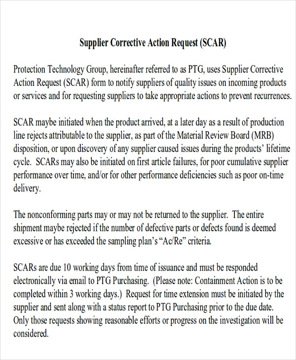 free supplier corrective action report