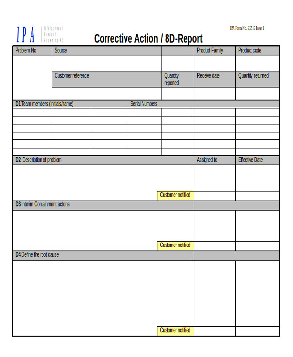 Sample Action Reports