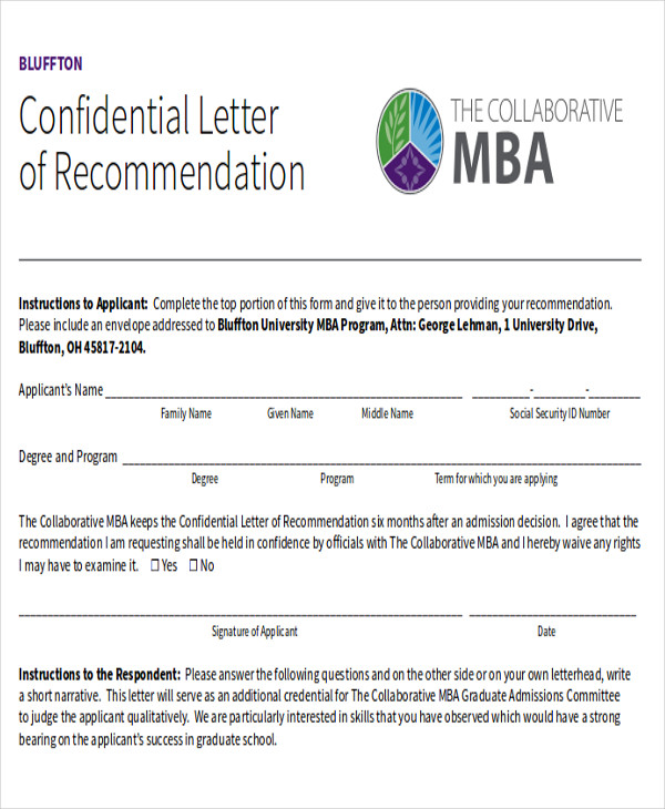 mba program recommendation letter