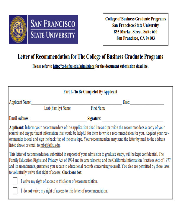 mba college recommendation letter
