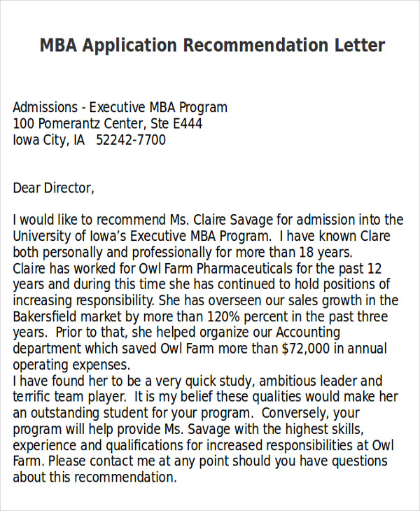 mba application recommendation letter