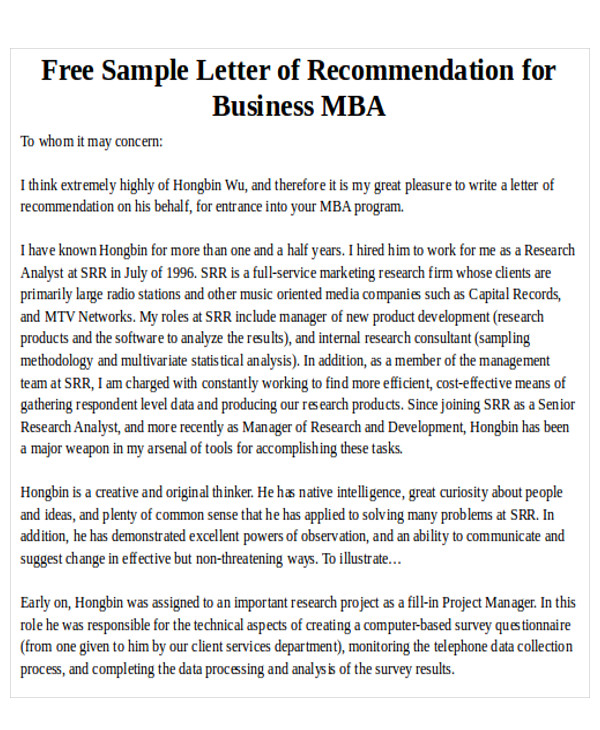 Sample Mba Recommendation Letter  Free Sample Example Format