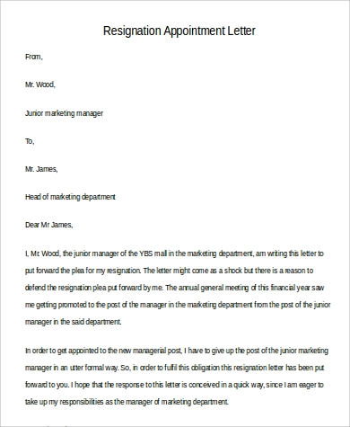 resignation appointment letter
