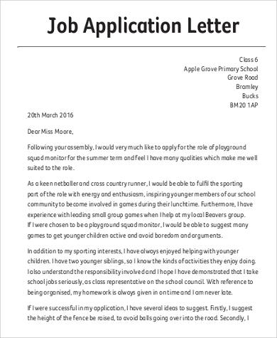 Job Application Letter Uk