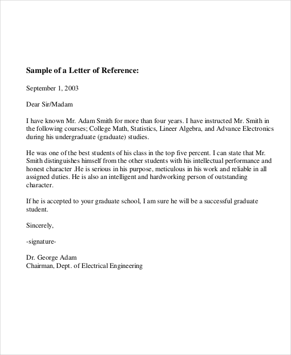 Bank Employee Recommendation Letter Example