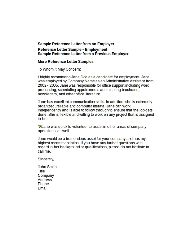 sample of reference letter for job