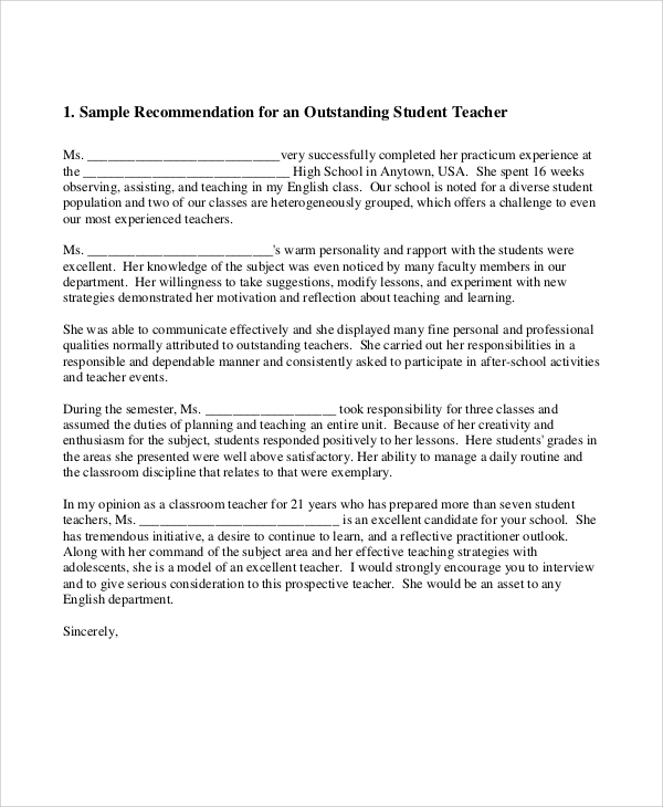 student teacher letters of recommendation