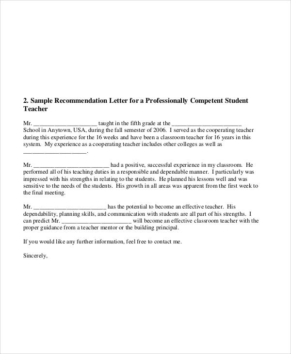 letters of recommendation for students from teachers
