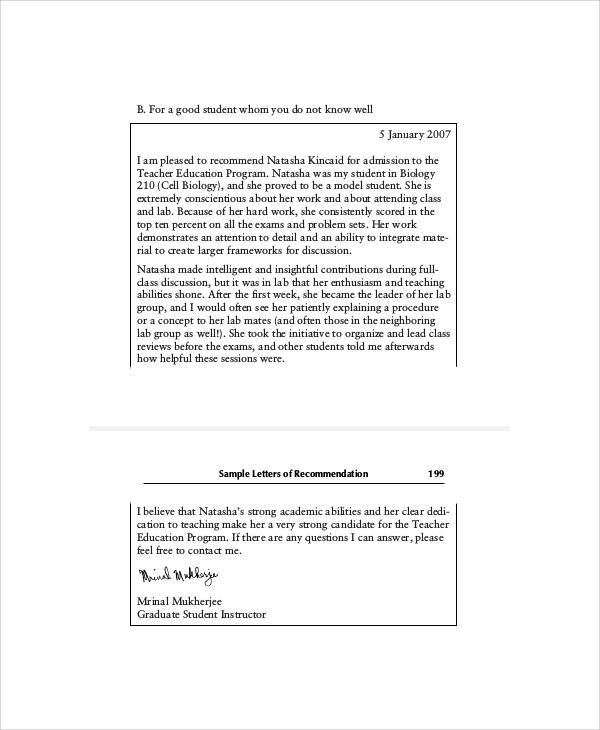 teacher education program recommendation letter