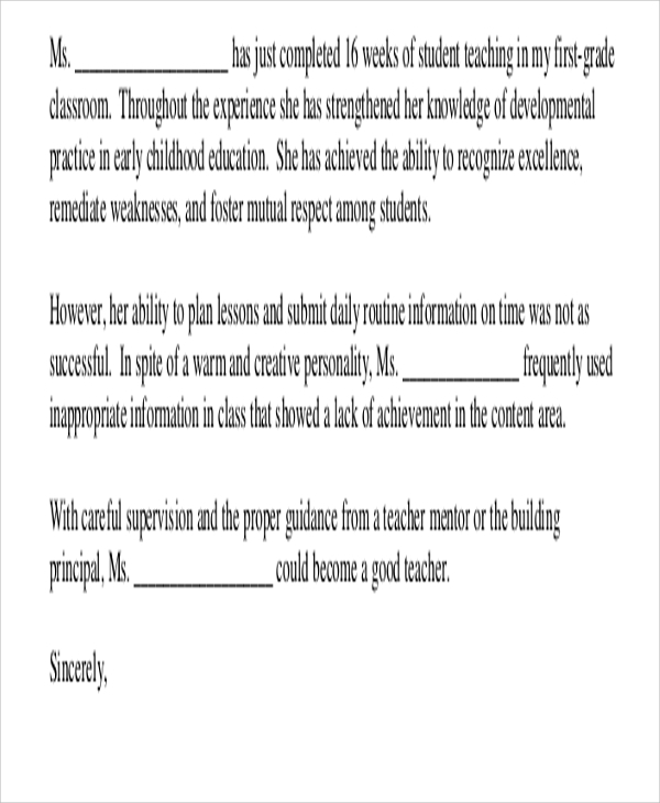 Sample Teacher Recommendation Letter  Free Sample Example