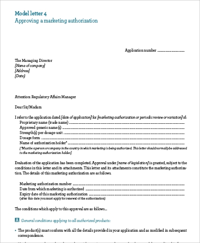 marketing authorization letter