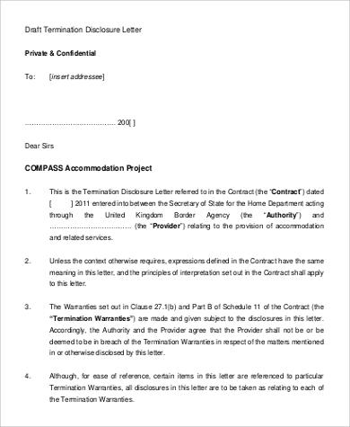 termination disclosure letter