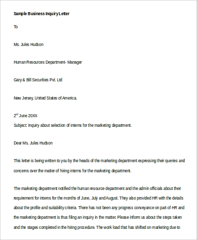 Business Inquiry Letter. Details. File Format  Inquiry Letters Example
