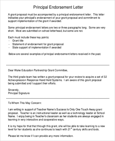 principal endorsement letter1