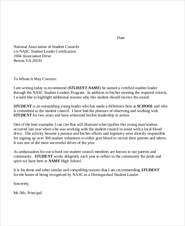 10  sample school recommendation letter