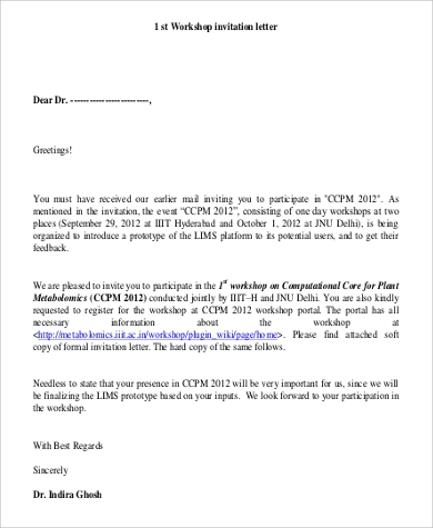 workshop invitation letter