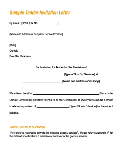 letter of invitation to tender sample 102 sample letter formats 16024