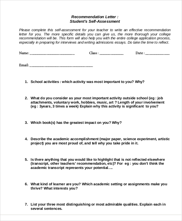 student self assessment recommendation letter