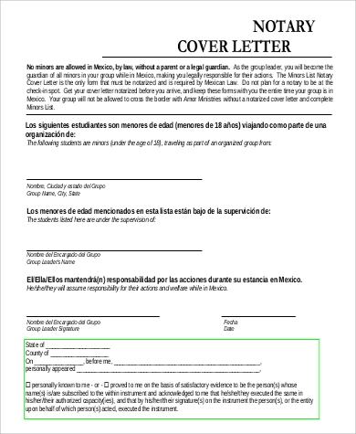 notary cover letter