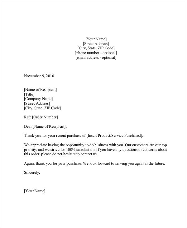 thank you letter to client after purchase