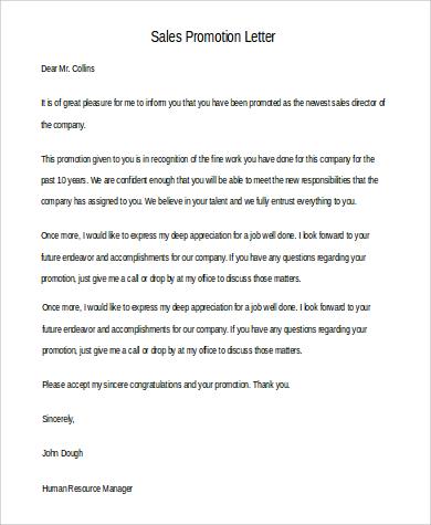 salespromotion letter