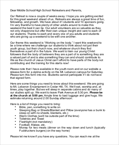 retreat parent letter