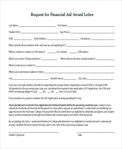 financial aid request letter