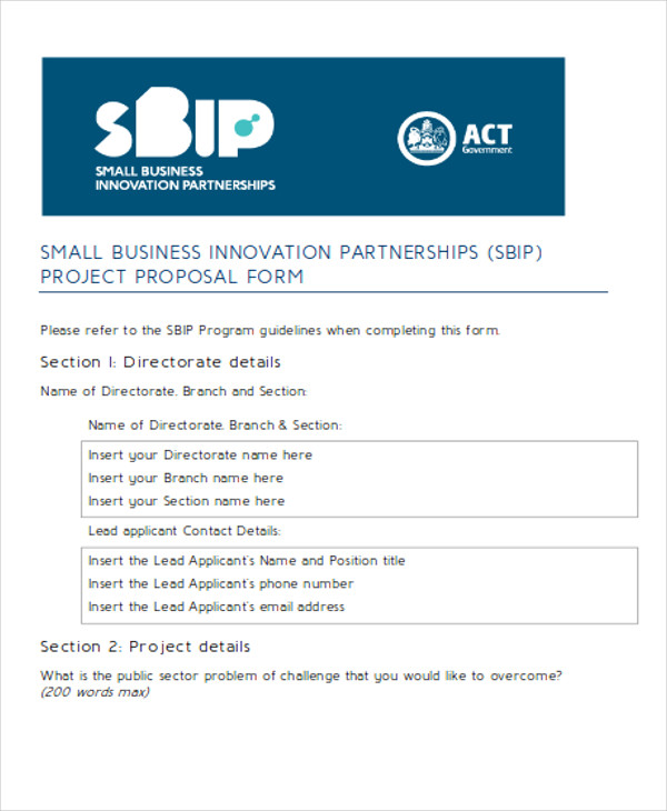 business partnerships project proposal form