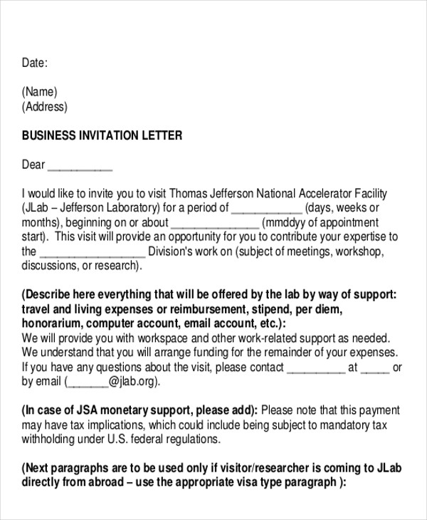 formal invitation business letter