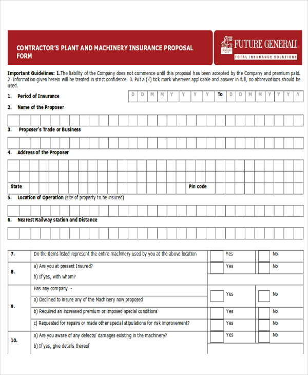contractor plant and machinery proposal form