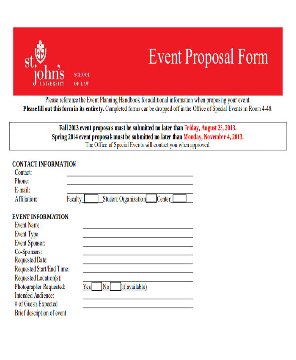 event planning proposal form
