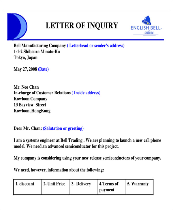 product inquiry business letter1