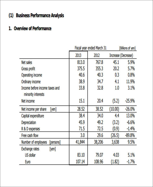 Sample Performance Analysis Report   Examples In Pdf Word
