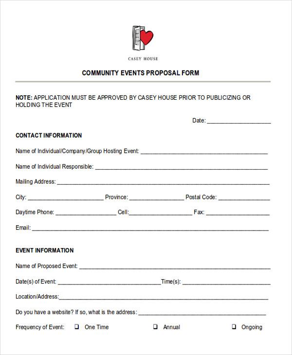 community events proposal form