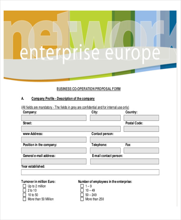 business co operation proposal form