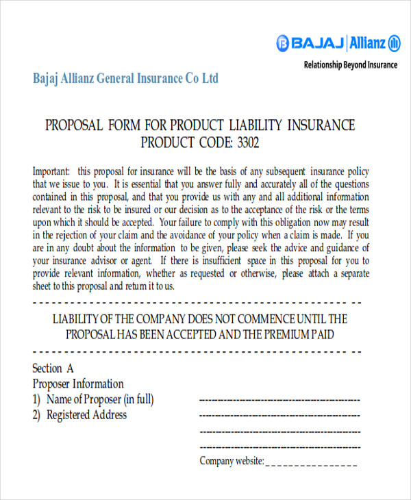 product liability proposal form