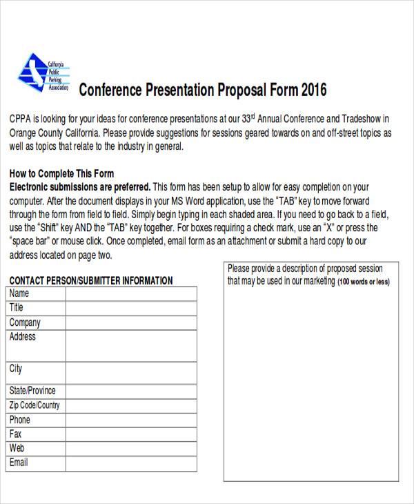 conference presentation proposal form