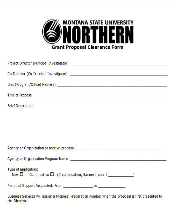 grant proposal clearance form