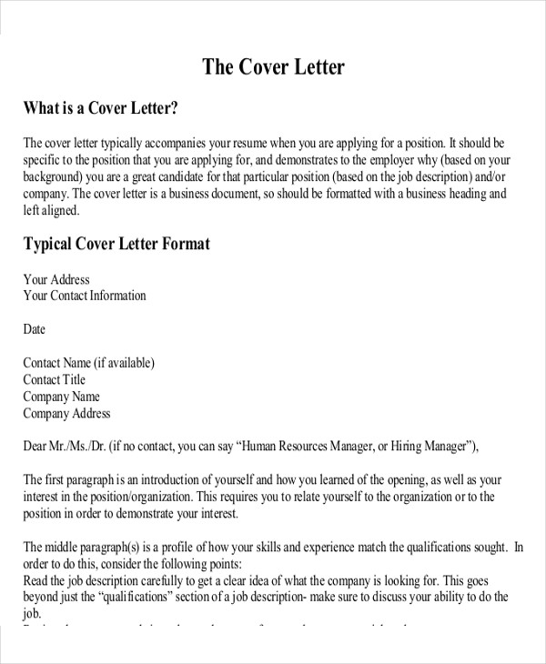 business cover letter format
