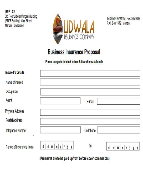 business insurance proposal