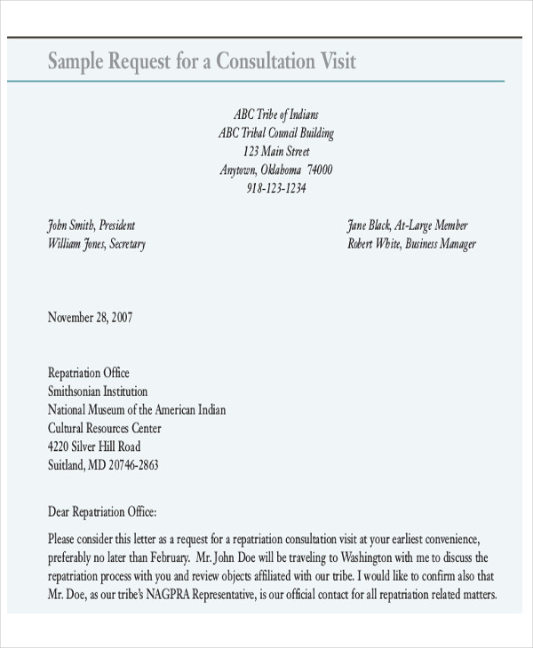 request for business visit letter