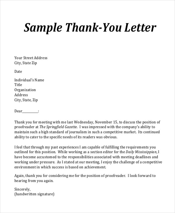 45 business letter examples sample templates for Thank you for meeting email template