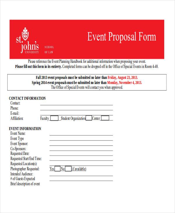 sample event planning proposal form