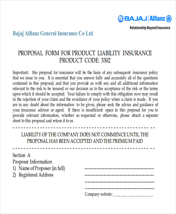 product liability insurance proposal form